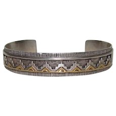 Navajo 14K Gold And Sterling Bracelet By Rhoda Jack Bear Mark
