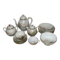 Rare Japanese Meiji Period Hand Painted & Signed Eggshell Porcelain Tea Set
