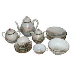 Rare Japanese Meiji Period Hand Painted & Signed Eggshell Porcelain Tea Set