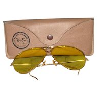 Vintage Ray Ban Bausch & Lomb Kalichrome C Bullet Hole Aviator Shooters Sunglasses