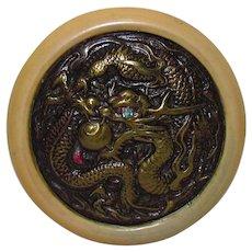 Vintage Oriental Tobacco Pouch Dragon Kagamibuta Netsuke