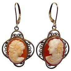 Vintage Sterling Vermeil Mother & Daughter Cameo Earrings