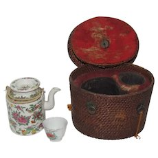 Chinese Qing Dynasty Personal Porcelain Tea Set in Original Fitted Case