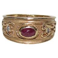 Vintage 14K Gold, Ruby, & Diamond Etruscan Revival Ring