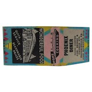 c1930s Phoenix Diner Pack Of Matches Phoenixville PA