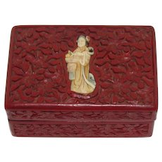 Vintage Oriental Carved Cinnabar Box With Hand Colored Carved Bone Asian Woman