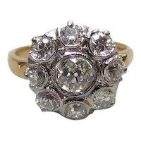 Late Victorian 14K & Platinum 1.75 – 2ctw Diamond Cluster Ring