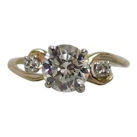 14K Gold ¾ Carat .75ct. H-I/VVS1 Diamond Ring c1945