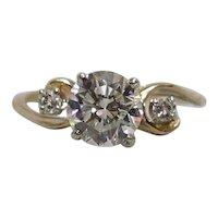 14K Gold ¾ Carat .75ct. H-I/VVS1 Diamond Ring c1945
