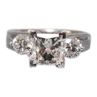 14K White Gold 1.5 CTW Square Radiant Cut Diamond Ring