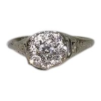 c1920 14K White Gold Diamond Cluster Ring ¾ CTW