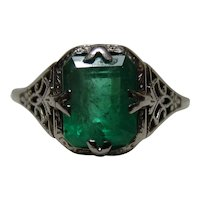 18K White Gold Art Deco 2 CT Columbian Emerald Ring