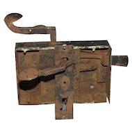 18th Century Pennsylvania Hand Forged Door Lock Assembly