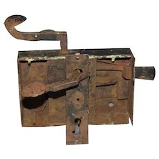 18th Century Pennsylvania Hand Forged Door Lock Assembly