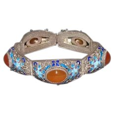 Qing or Republic Chinese Silver Enameled & Carnelian Cabochon Bracelet