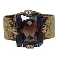 Antique Late Victorian 10K Gold Synthetic Corundum Alexandrite Ring