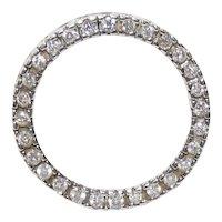 "Vintage 14K White Gold & Diamond Eternity ""Circle Of Love"" Pendant"