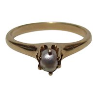 Victorian 14K Gold Natural Pearl Ring