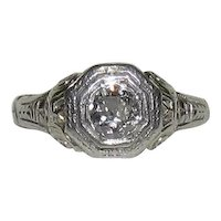18K White Gold Art Deco 1/3 CT Diamond Ring
