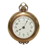 Burlington 15J Pocket Watch In 25 Year Two Plates Solid Gold Case
