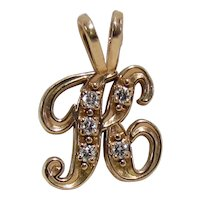 "Vintage 14K Gold & Diamond Letter ""K"" Pendant"