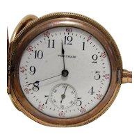 Antique 1908 Waltham 15J Pocket Watch In GF Hunter Case
