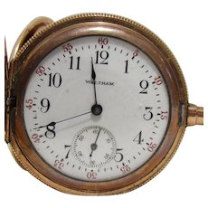 Antique 1908 Waltham 15J Pocket Watch In GF Hunter Case