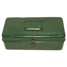 "Vintage 1940s Liberty Pressed Steel ""On Golden Pond"" Tackle Box"