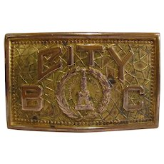 Vintage 1920s Baltimore Maryland City Solid Brass Belt Buckle By Katz