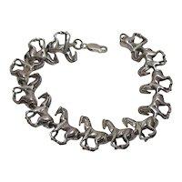 Vintage Art Deco Sterling Silver Horse Bracelet