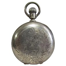 19th Century Heavy Coin Silver Cased Pocket Watch Size 18s