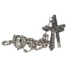 Vintage Sterling Silver Rosary With Two Crosses