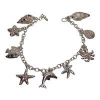Charming: Vintage Sterling Silver Seashore Theme Charm Bracelet