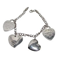 Charming: Vintage Sterling Silver Tiffany Heart Theme Charm Bracelet