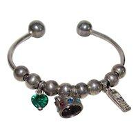 Vintage Sterling Silver Cuff Charm Bracelet