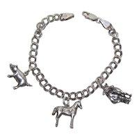 1950s Sterling Silver Farm Theme Charm Bracelet