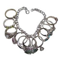 Vintage Sterling Silver Contemporary Bling Ring Theme Charm Bracelet