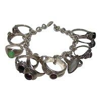 Vintage Sterling Silver Contemporary Gemstone Ring Theme Charm Bracelet