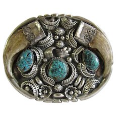 c1974 Little Bert King Company Lander Blue Turquoise Southwest Sterling Buckle With Bear Claws Signed EH