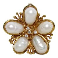 Vintage 18K Gold Pendant / Pin With Diamonds And Cultured Pearls