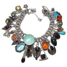 Vintage Sterling Silver Mega Gemstone Medley Theme Charm Bracelet