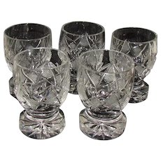 5 Vintage Cut Glass Cordials