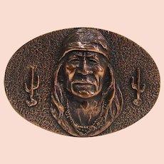Vintage 1979 Solid Cast Copper LK PSS Navajo Indian Belt Buckle