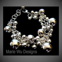 Sterling Silver Bubble-Sphere-Orb- Beaded Adjustable-Charm Bracelet