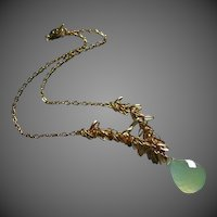 Limeade-Green Chalcedony-18k Gold plated- Charm Necklace-