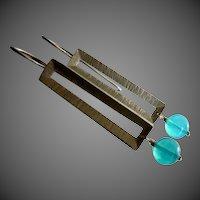 Jelly Blue Opal-Geometric Sterling Silver Contemporary Earrings