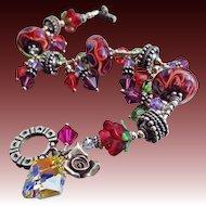 Artisan Lampwork-Swarovski Crystal-Bali Silver Bracelet with Charms