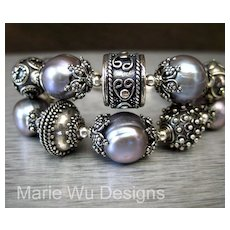 2 Strand-13mm Platinum Fresh Water Pearls-Handmade Balinese Silver Bracelet-With Charms