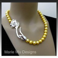 """12mm Genuine Golden Fresh Water Pearl-3"""" Sterling Silver Rose Clasp-Hand Knotted Necklace"""