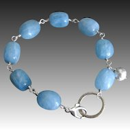 Aquamarine Sterling Hoop Contemporary Silver Bracelet with Charm